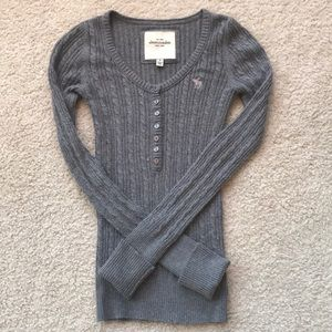 A&F Gray Knit Long Sleeve Henley